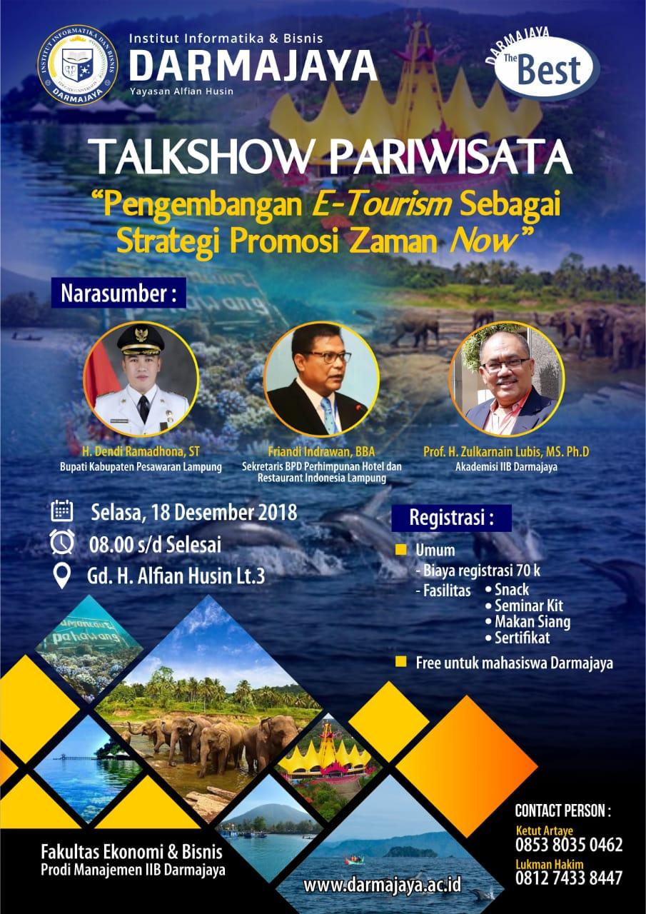 Besok, IIB Darmajaya Gelar Talkshow Pariwisata
