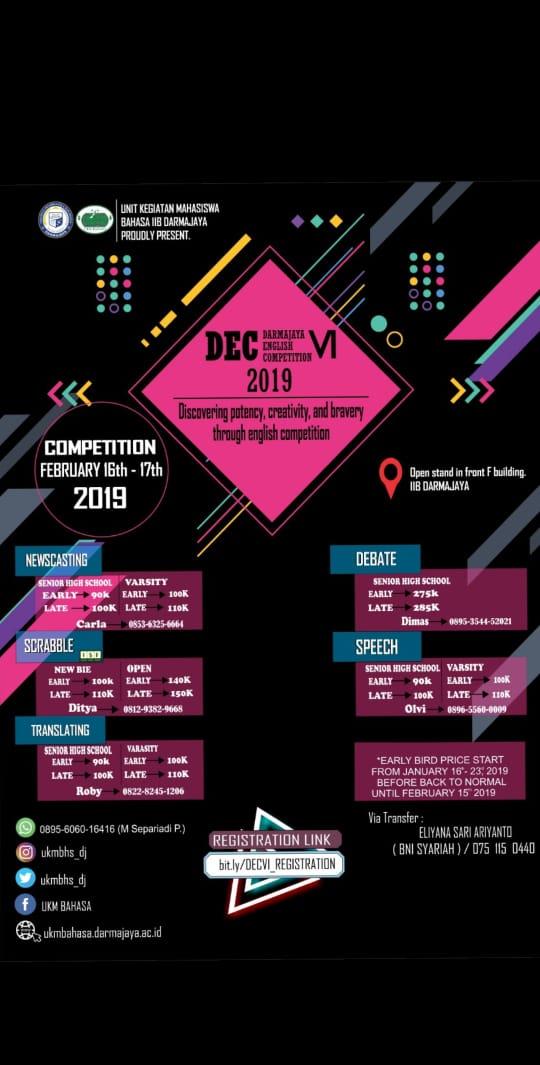 Kreatif dan Berani, Yuuk Ikuti Darmajaya English Competition VI