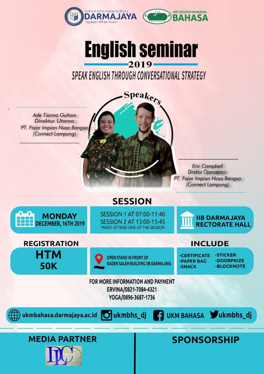 Ingin Lancar Bicara Bahasa Inggris! Yuuk Ikuti English Seminar UKM Bahasa IIB Darmajaya
