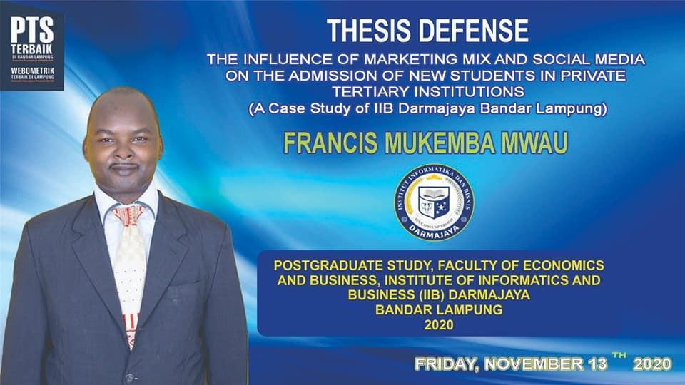 Perdana, Mahasiswa Asal Kenya Lulus Ujian Tesis di IIB Darmajaya