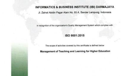 Kampus Biru IIB Darmajaya Re Sertifikasi ISO 90012015