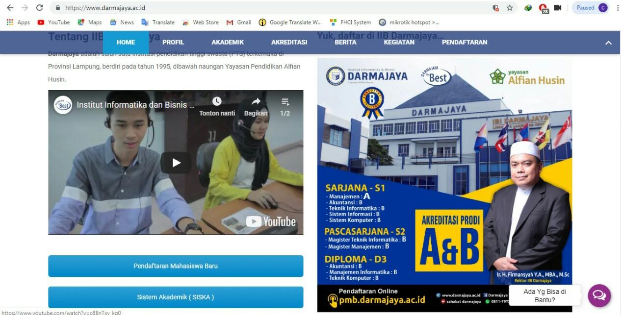 PTS Terbaik di Provinsi Lampung, IIB Darmajaya Peringkat 84 Webometrics